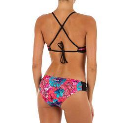 Braga Bikini Surf Pequeña Olaian Niki Aloha Mujer Plisado Lateral Rosa Fluor