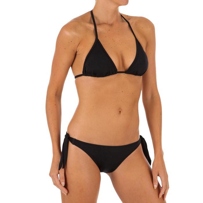 Hoog uitgesneden bikinibroekje met striksluiting voor surfen Sabi zwart