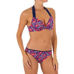 Braga Bikini Surf Ancha Olaian Nina Mujer Clásica Estampado Mosaico Rojo Fluor