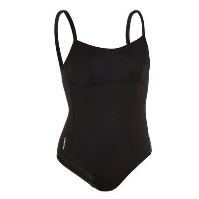 בגד ים שלם לנשים Cloe - שחור עם פתח בגב בצורת X או U