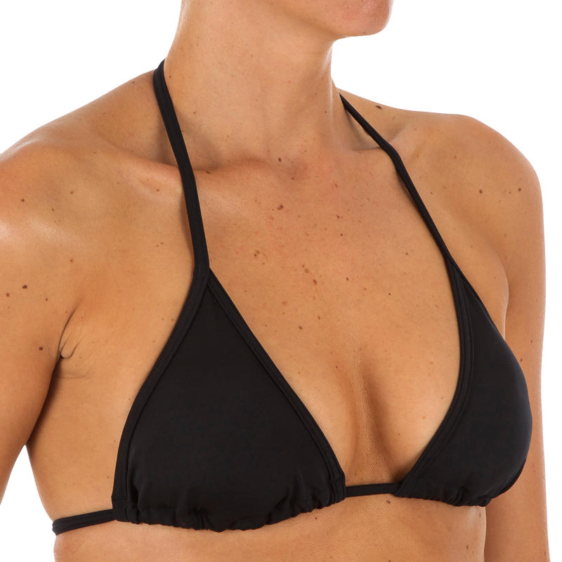 ชุดว่ายน้ำบิกินี่ชิ้นบนผู้หญิงทรงสามเหลี่ยมปรับเลื่อนได้สีพื้นรุ่น Mae (สีดำ)
