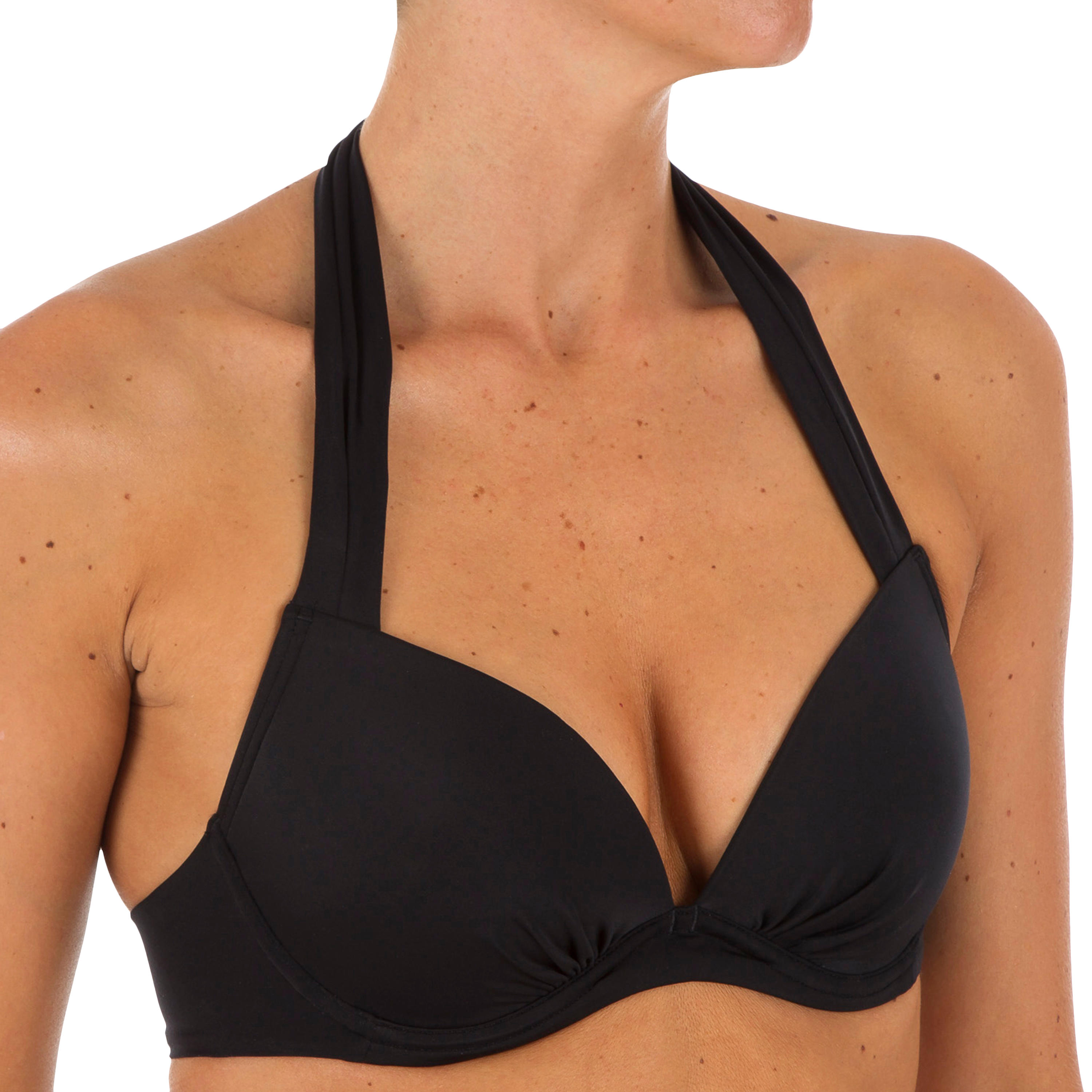 Elena Women's Push-Up Swimsuit Top with Fixed Padded Cups - Black