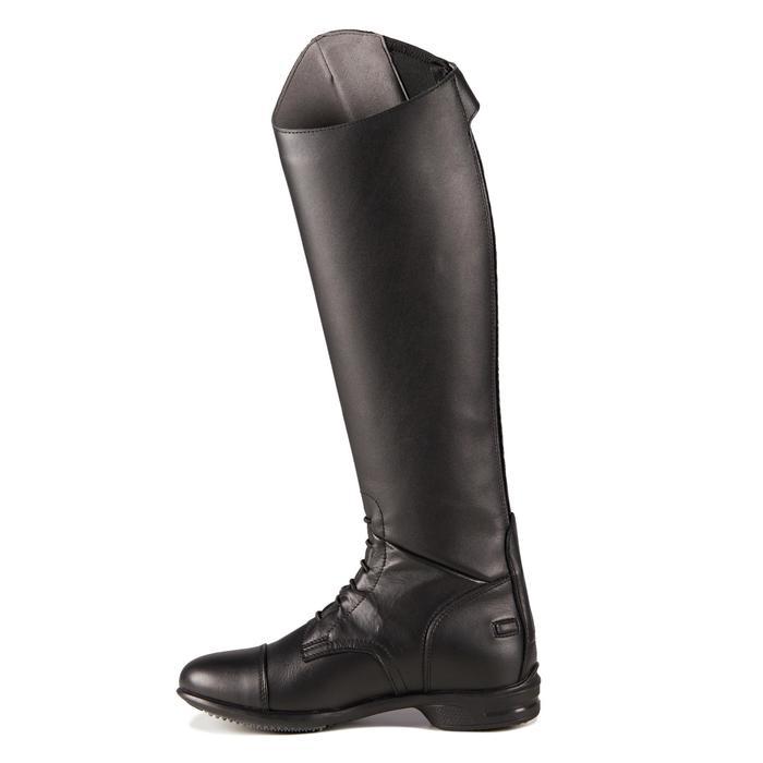 Bottes cuir équitation adulte 900 JUMP mollet S noir