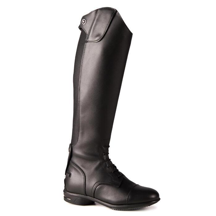 Botas de piel equitación adulto 900 JUMP L negro