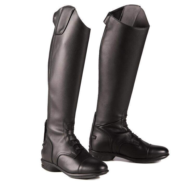 Bottes cuir équitation adulte 900 JUMP L noir