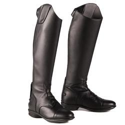 Leren laarzen ruitersport volwassene 900 Jump S zwart
