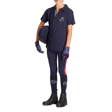 500 Mesh Kids' Short-Sleeved Horse Riding Polo Shirt - Navy Blue/Grey