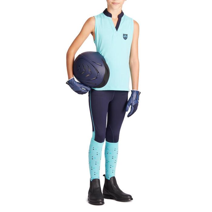 Pantalón Equitación Fouganza 100 Light Niño Azul Marino y Turquesa Badana Tela