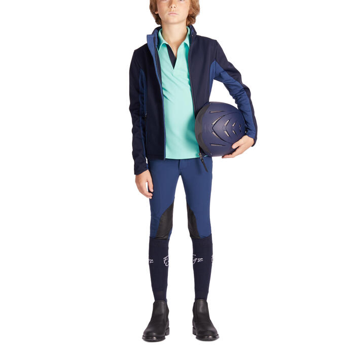 Reithose 500 Light Kniebesatz Kinder dunkelblau/marineblau