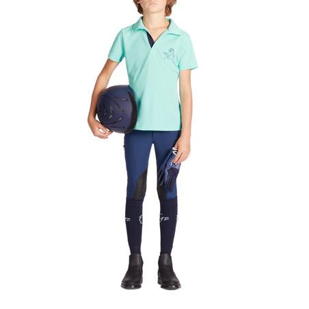 Playera tipo polo manga corta equitación júnior 500 MESH turquesa y azul marino