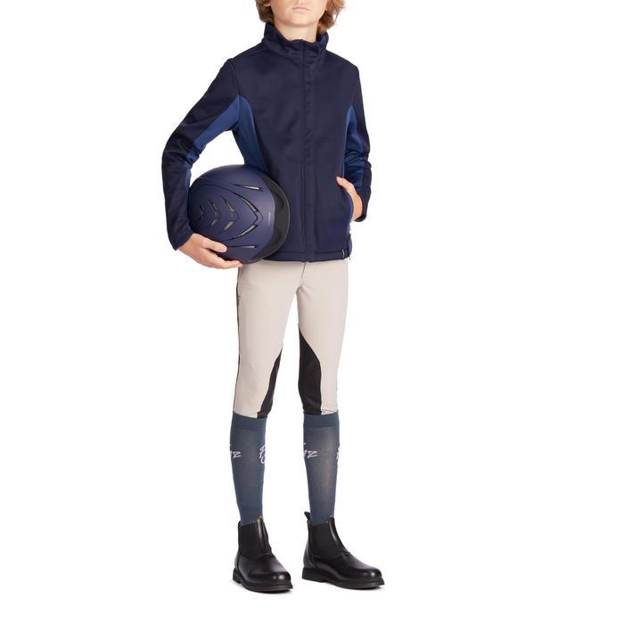 Sommer-Reithose 500 Mesh Kniebesatz Kinder beige/marineblau