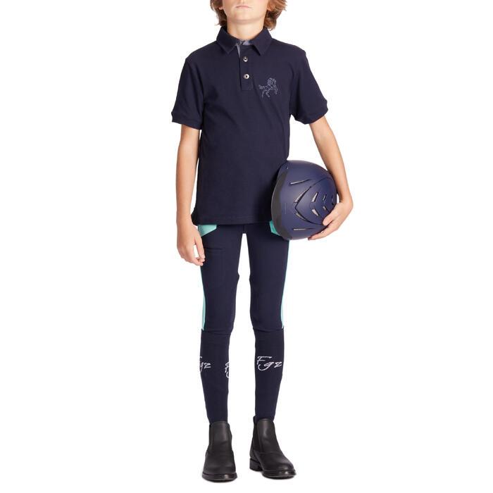 Reithose 120 Kniebesatz Kinder marineblau/türkis
