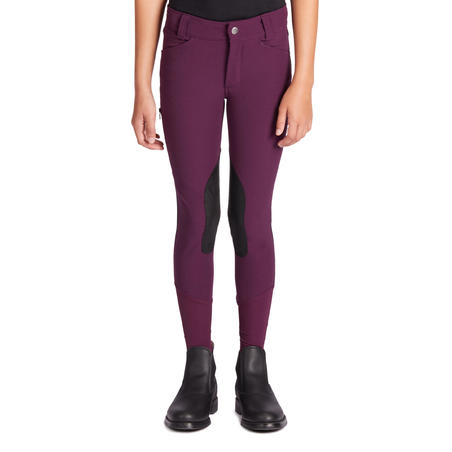 500 Mesh Kids' Horse Riding Jodhpurs - Plum/Navy
