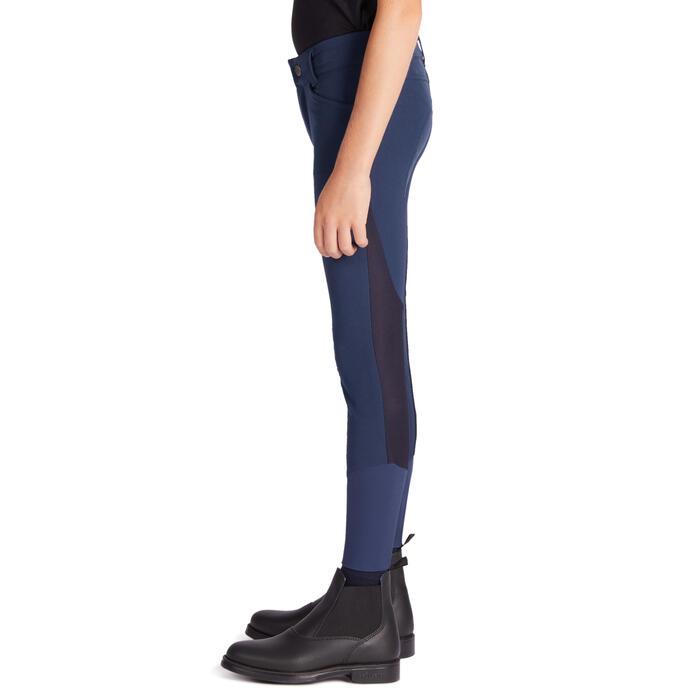 Sommer-Reithose 500 Mesh Kniebesatz Kinder dunkelblau/marineblau