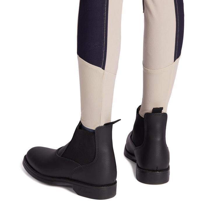 Pantalón Equitación Fouganza 500 Mesh Niño Beige/Azul M con Badanas Adherentes