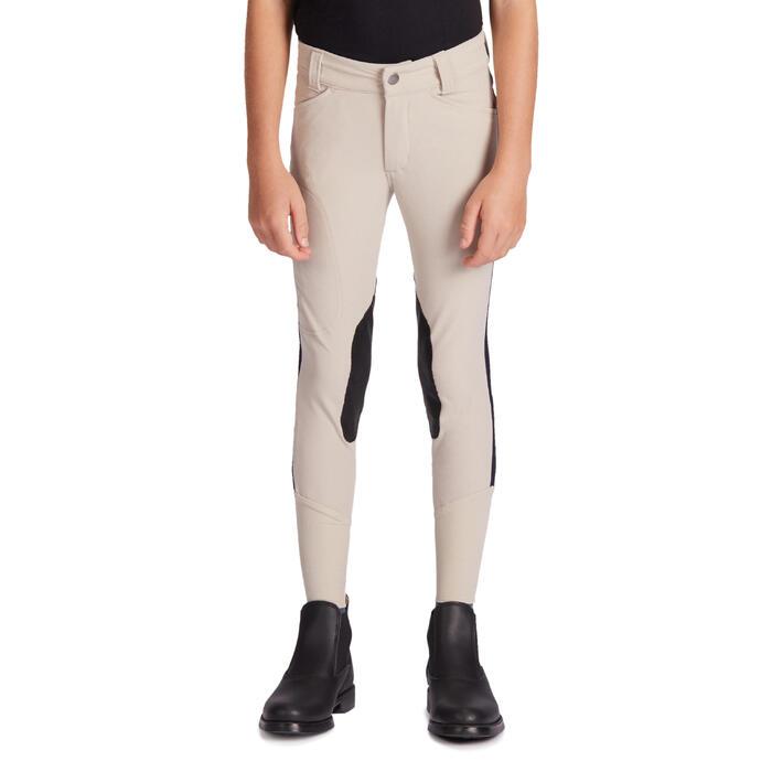 Pantalón de equitación niños 500 MESH beige y azul marino
