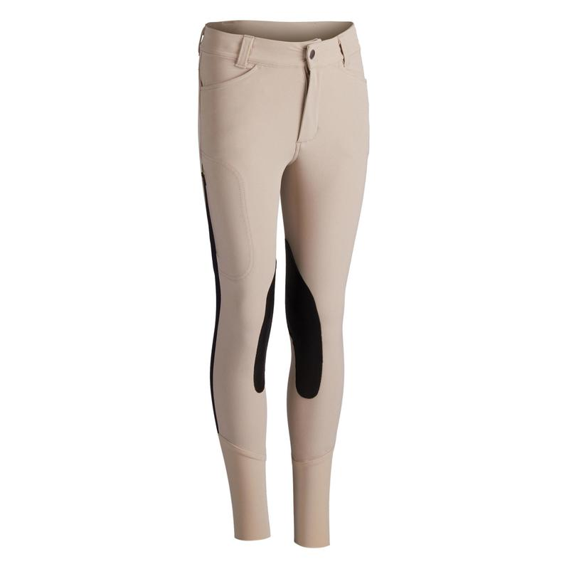 Pantalon équitation enfant 500 MESH beige et marine