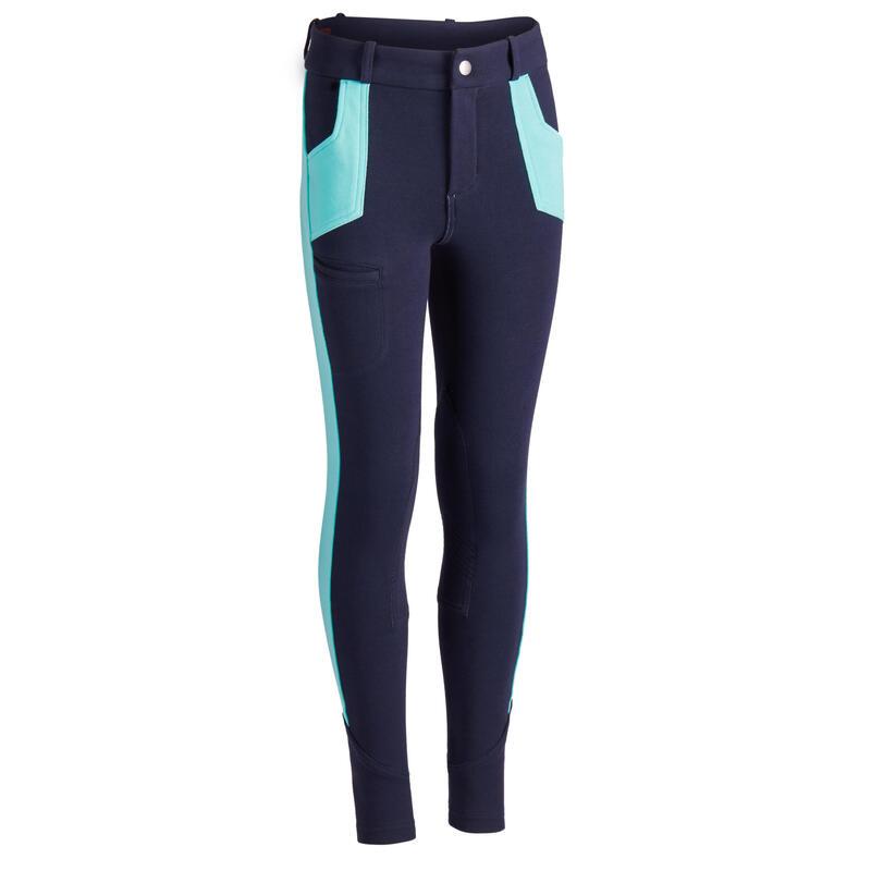 Pantalon Echitaţie 120 Bleumarin/Turcoaz Copii