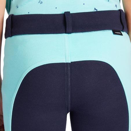 Pantalon équitation enfant 120 marine et turquoise
