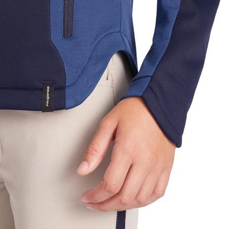 Veste softshell équitation enfant 500 marine et bleu