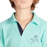 500 Mesh Kids' Short-Sleeved Horseback Riding Polo Shirt - Turquoise/Navy
