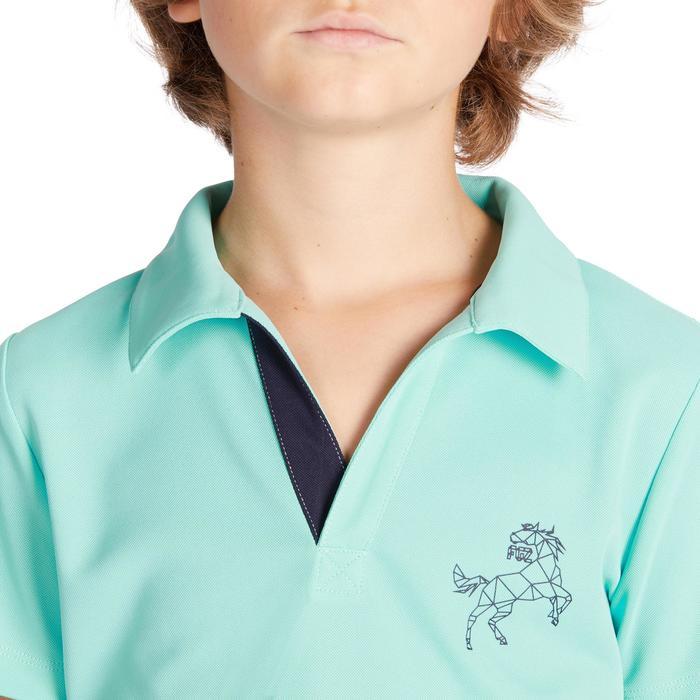 Polo Equitación Fouganza 500 Mesh Niño Celeste y Azul Marino Manga Corta