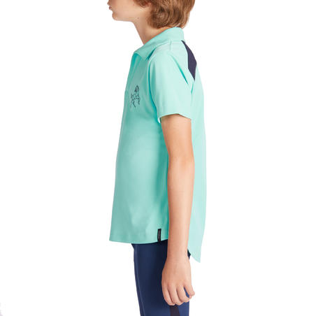 500 Mesh Kids' Short-Sleeved Horse Riding Polo Shirt - Turquoise/Navy