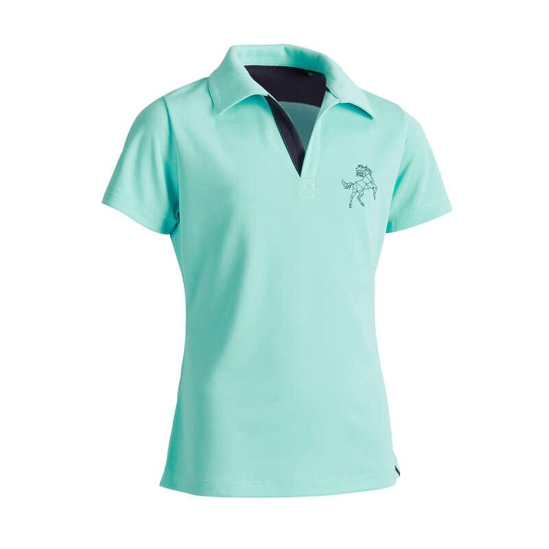 Îmbrăcăminte  echitație Jr. vreme caldă Echitatie - Tricou Polo 500 MESH Copii  FOUGANZA - Echitatie