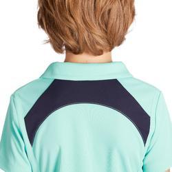 Polo manches courtes équitation enfant 500 MESH turquoise et marine