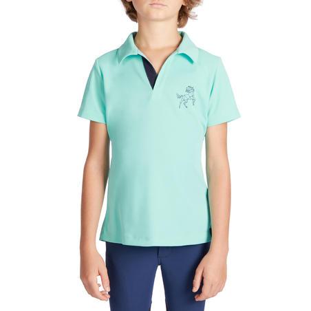 Polo manches courtes équitation enfant 500 MAILLE turquoise et marine