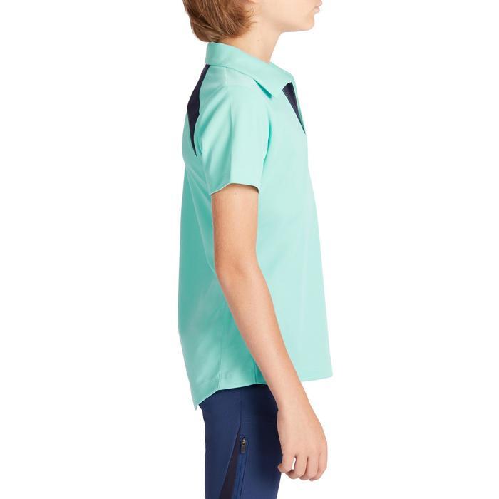 Reit-Poloshirt 500 Mesh Kinder türkis/marineblau