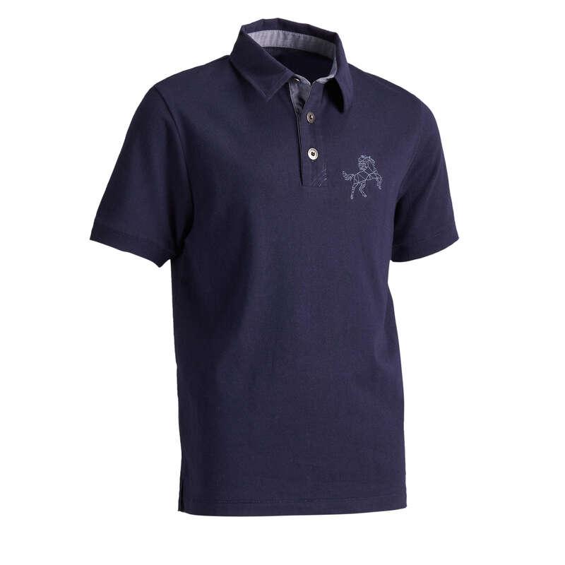 Îmbrăcăminte echitație copii Echitatie - Tricou polo 140 băieți FOUGANZA - Echitatie