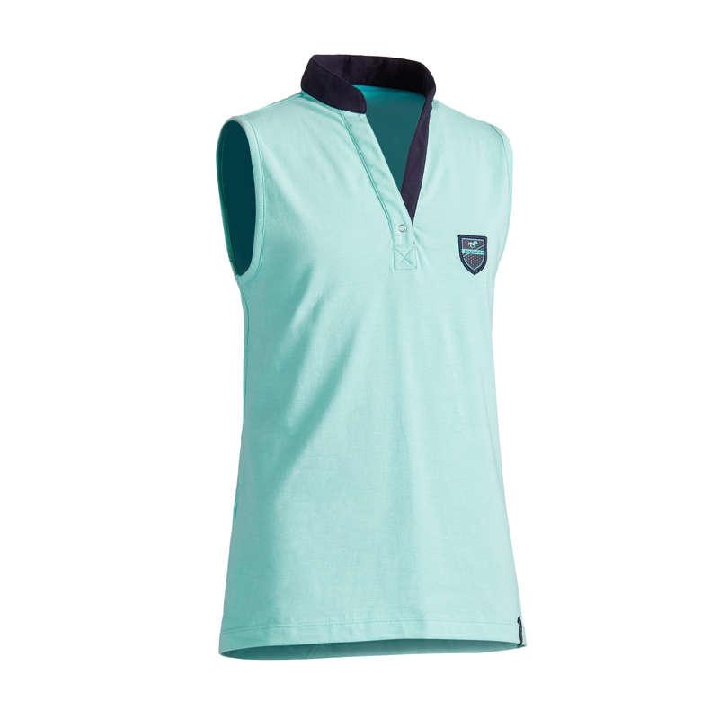 Îmbrăcăminte  echitație Jr. vreme caldă Echitatie - Maiou Echitație 100 turquoise FOUGANZA - Echitatie
