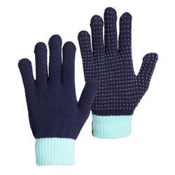 Rijhandschoenen voor kinderen TRICOT marineblauw en turquoise siliconen nopjes