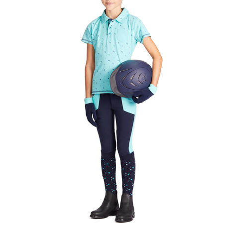 140 Girls' Short-Sleeved Horse Riding Polo Shirt - Turquoise With Navy Designs