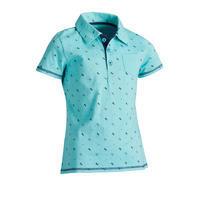 140 Girls' Short-Sleeved Horseback Riding Polo Shirt - Turquoise w/ Navy Designs