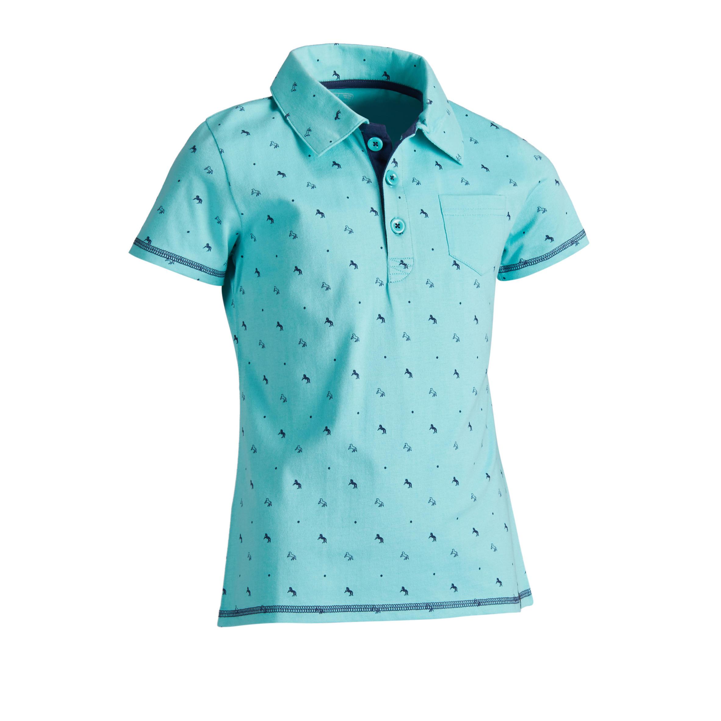 Fouganza Polo 140 met korte mouwen voor meisjes ruitersport turquoise marineblauwe mot.