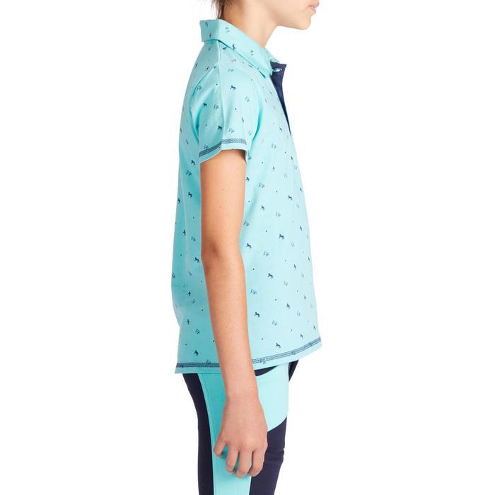 女童款短袖馬術Polo衫140-淺碧藍色底搭配海軍藍設計