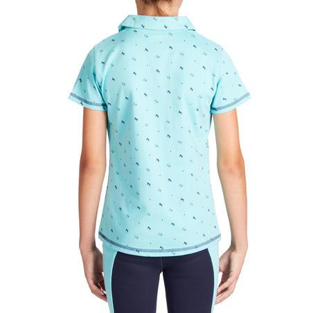 Polo manches courtes équitation fille 140 FILLE turquoise motifs marine