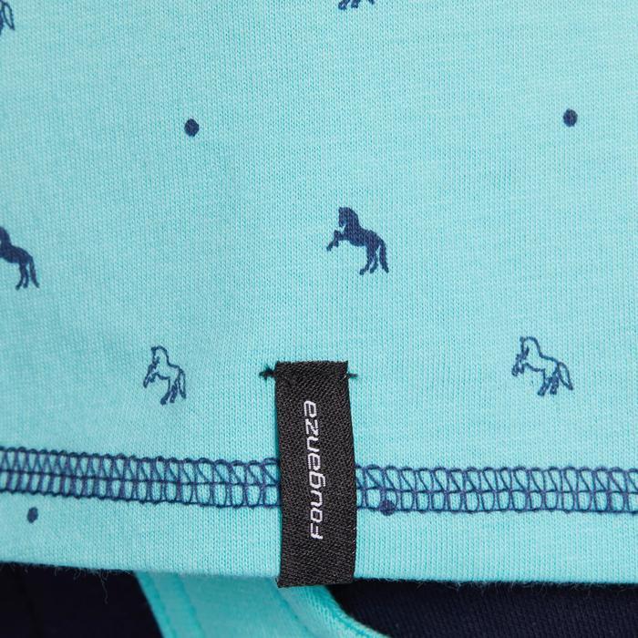 Reit-Poloshirt 140 GIRL Kinder türkis/marineblau