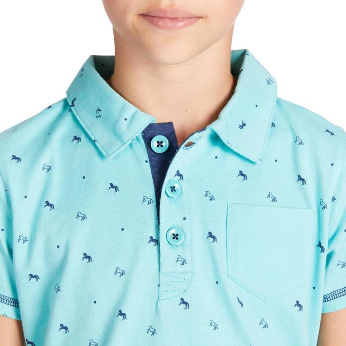 Polo manches courtes équitation fille 140 GIRL turquoise motifs marine