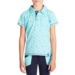 Polo 140 met korte mouwen voor meisjes ruitersport turquoise marineblauw.