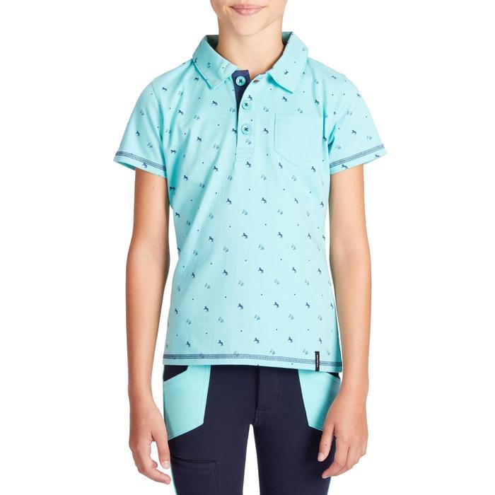 Polo 140 met korte mouwen voor meisjes ruitersport turquoise marineblauwe mot.
