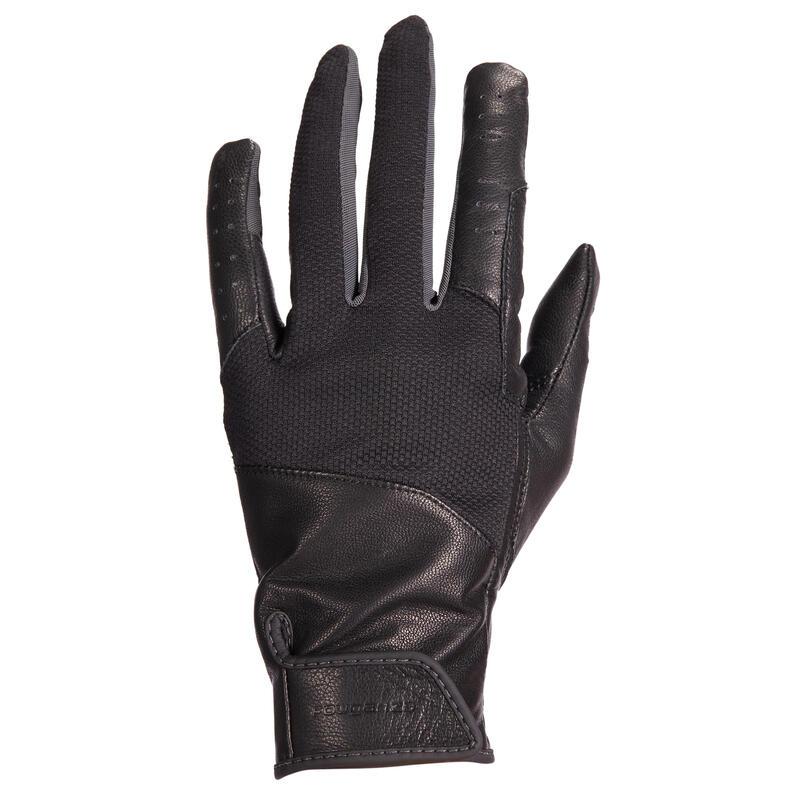 Gants d'équitation en cuir respirant Femme - 960 noir