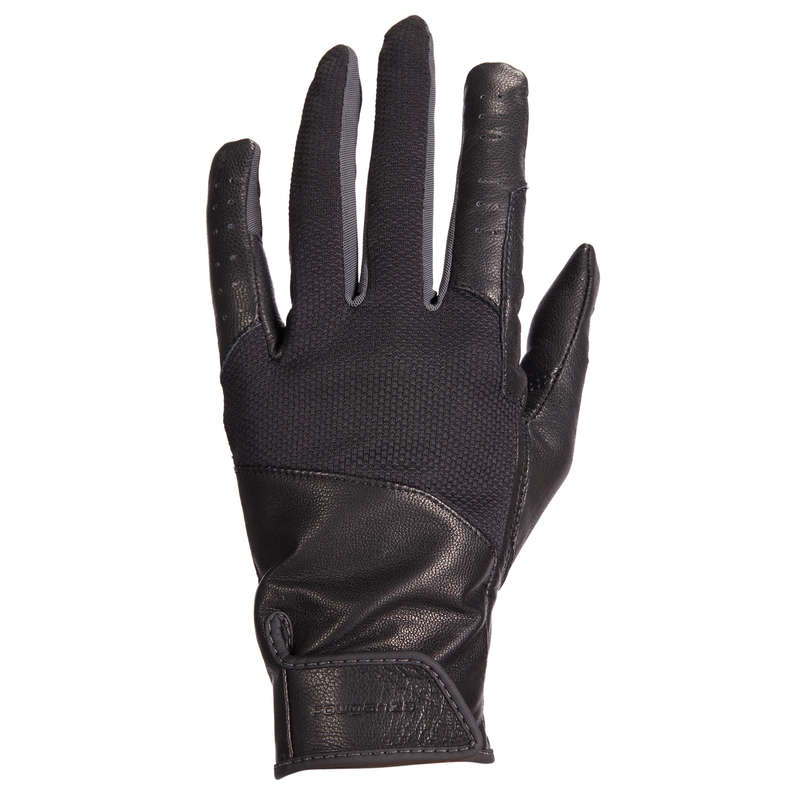 RIDING GLOVES ADULT Horse Riding - 960 Women's Gloves - Black FOUGANZA - Horse Riding