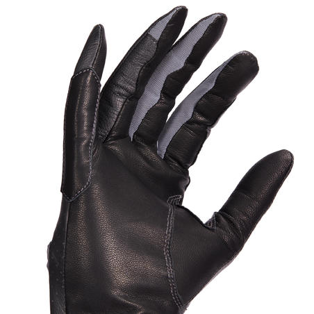 Women's Horse Riding Leather Gloves 900 - Black
