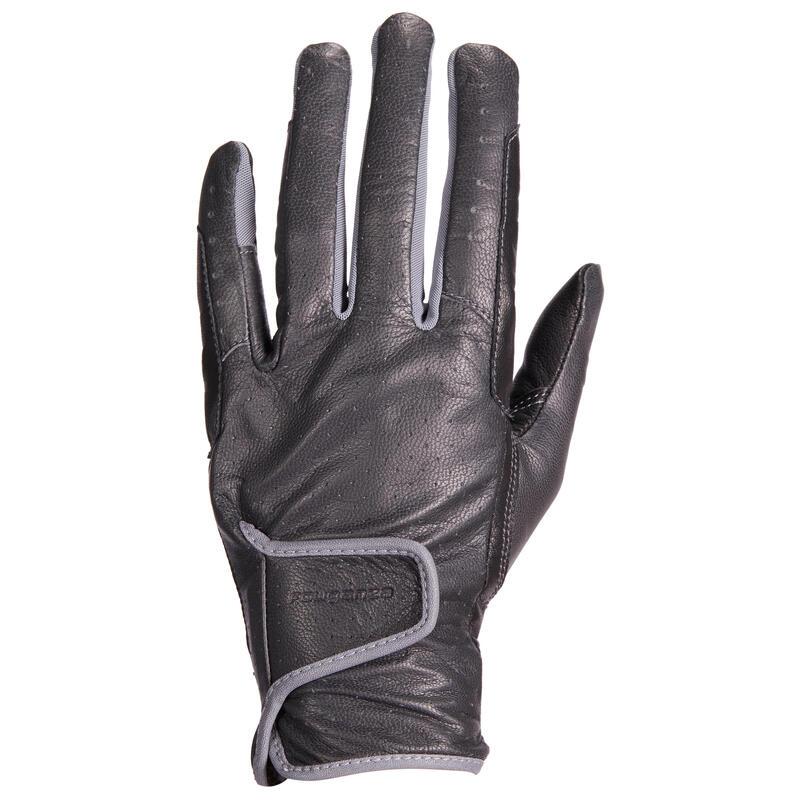 Gants d'équitation en cuir Femme - 900 noir