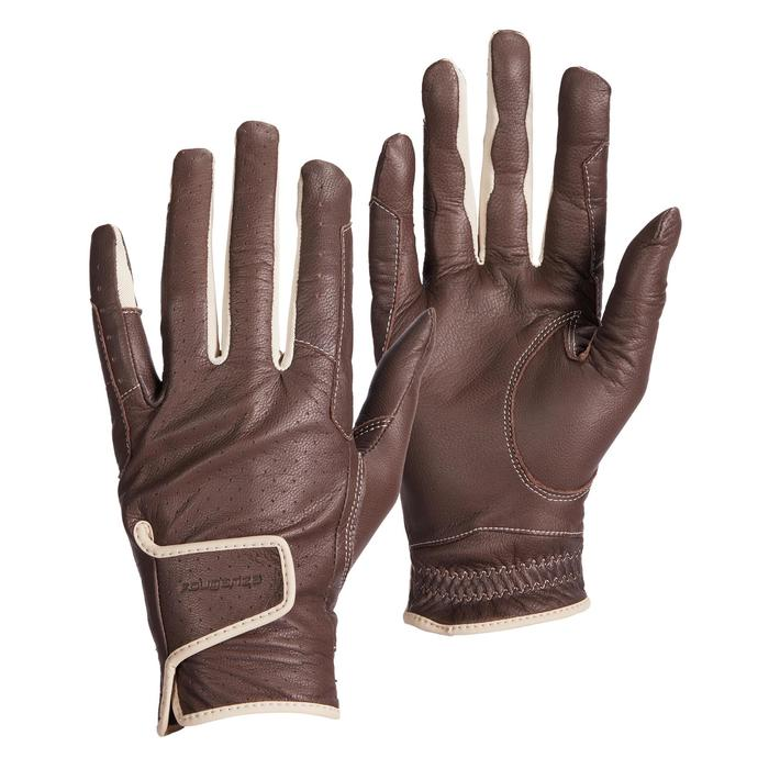 Women's Horse Riding Leather Gloves 900 - Brown
