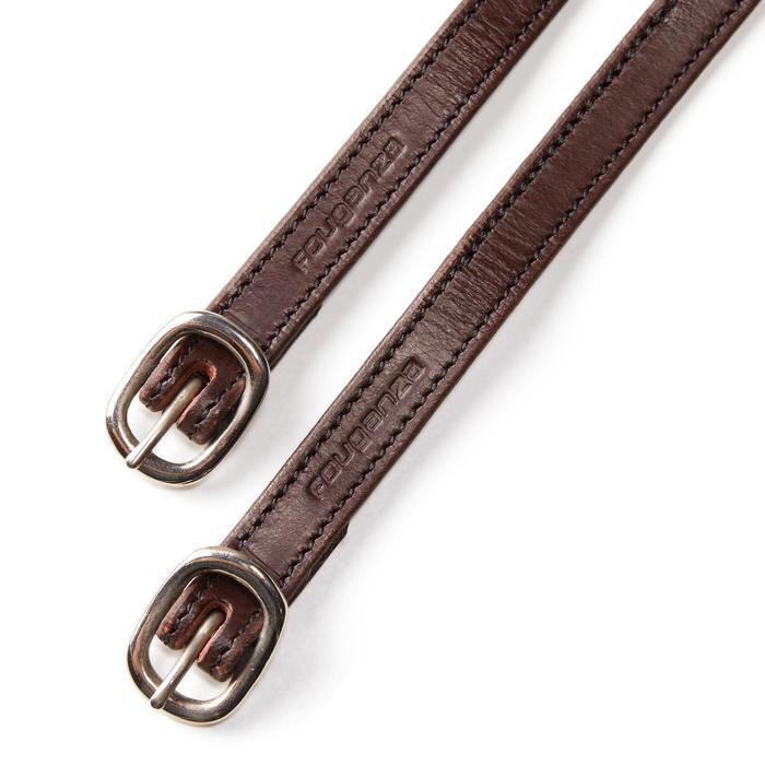 Lanières d'éperons équitation 500 cuir marron