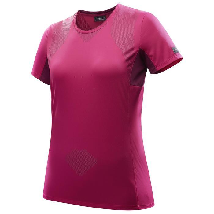 Camiseta Manga Corta de Montaña y Trekking Forclaz Trek100 Mujer Rosa